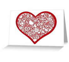 Valentites heart of objects red Greeting Card