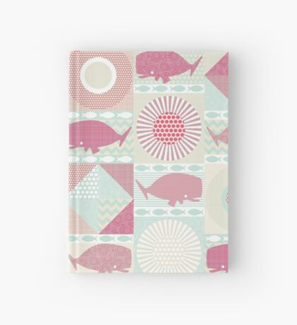 geo whales pink Hardcover Journal