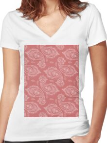 Coral Paisley Aztec Tribal Indian Pattern Women's Fitted V-Neck T-Shirt