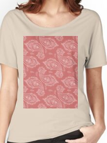 Coral Paisley Aztec Tribal Indian Pattern Women's Relaxed Fit T-Shirt