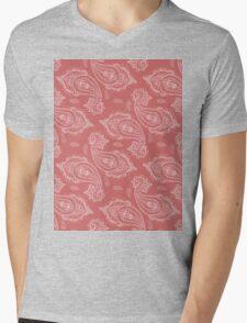 Coral Paisley Aztec Tribal Indian Pattern Mens V-Neck T-Shirt