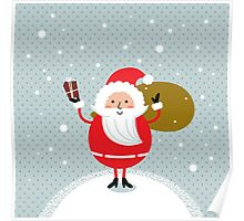 Happy Santa Illustration for christmas card Poster