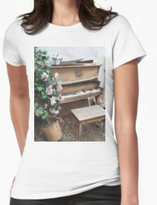 Vintage Piano & Flowers Womens Fitted T-Shirt