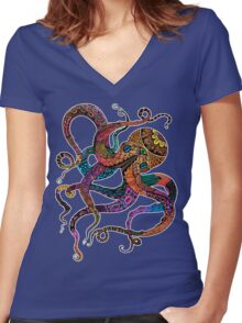 Electric Octopus Women's Fitted V-Neck T-Shirt