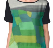 Patchwork hills abstract landscape Chiffon Top