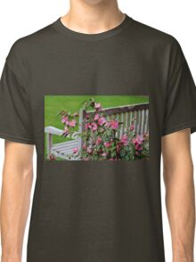 Pink Flowers By The Bench Classic T-Shirt