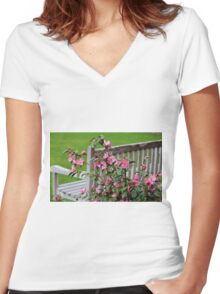 Pink Flowers By The Bench Women's Fitted V-Neck T-Shirt