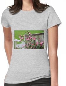 Pink Flowers By The Bench Womens Fitted T-Shirt