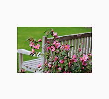 Pink Flowers By The Bench Unisex T-Shirt