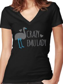 Crazy EMU lady Women's Fitted V-Neck T-Shirt