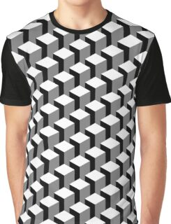 Isometric Geometrical Blocks Pattern Graphic T-Shirt