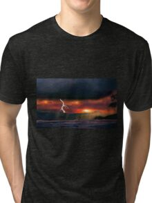 sunset beach storm lightning ocean water trees mountain landscape seascape Tri-blend T-Shirt