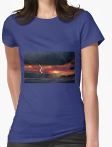 sunset beach storm lightning ocean water trees mountain landscape seascape Womens Fitted T-Shirt