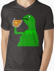 None of My Business Meme Pixel Art Frog Mens V-Neck T-Shirt