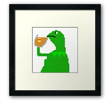 None of My Business Meme Pixel Art Frog Framed Print