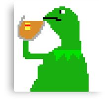 None of My Business Meme Pixel Art Frog Canvas Print