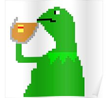 None of My Business Meme Pixel Art Frog Poster