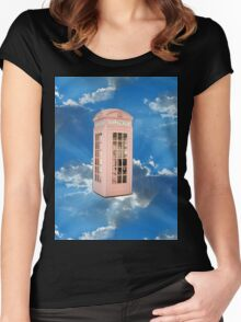 pink phone booth Women's Fitted Scoop T-Shirt