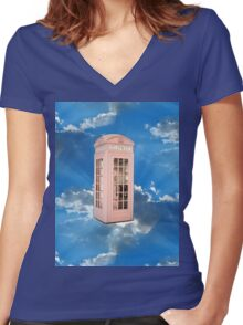 pink phone booth Women's Fitted V-Neck T-Shirt
