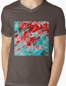Red Fury - Abstract In Blue And Red Mens V-Neck T-Shirt