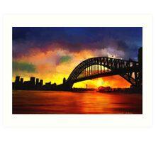 Sydney Harbour Australia Impressionist Sunset Art Art Print