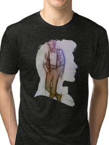 The Eleventh Doctor Silhouette with pencil sketch Tri-blend T-Shirt