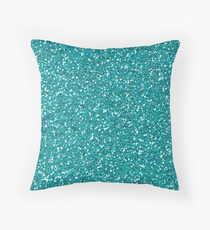 Turquoise Glitter Sparkles Texture Photography Throw Pillow