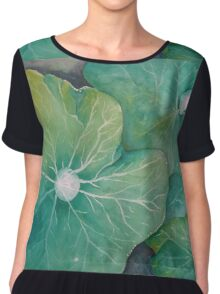 In Rosemary's Garden - Nasturtium Leaf with Dew Drops Chiffon Top