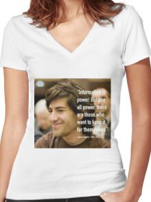 Information quote by Aaron Swartz Women's Fitted V-Neck T-Shirt