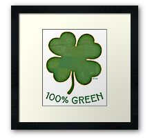 Irish Shamrock - 100% Green Framed Print