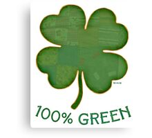 Irish Shamrock - 100% Green Canvas Print