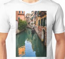 Impressions of Venice - Green Reflections and a Gondola Unisex T-Shirt