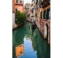 Impressions of Venice - Green Reflections and a Gondola Photographic Print