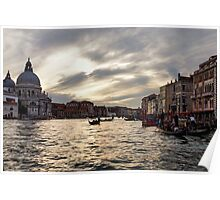 Impressions of Venice - the Grand Canal in Silver and Pearl Poster