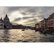 Impressions of Venice - the Grand Canal in Silver and Pearl Photographic Print