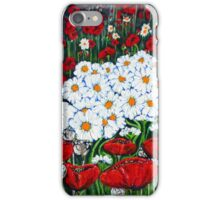 Rubies And Pearls Flowers Daisy Poppy Poppies Daisies Field Wildflowers  iPhone Case/Skin
