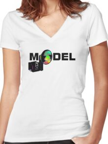 Model Women's Fitted V-Neck T-Shirt