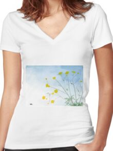 Simple Flowers - Watercolor Painting Women's Fitted V-Neck T-Shirt