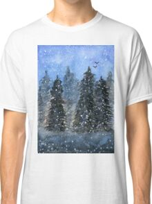 Winter Trees - Watercolor Painting Classic T-Shirt
