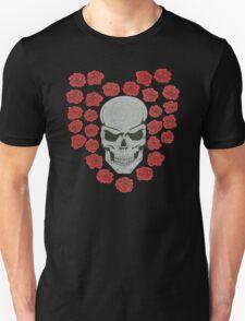 skull with love heart rose Unisex T-Shirt