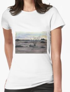 Abstract Landscape in cold colors - Watercolor Painting Womens Fitted T-Shirt