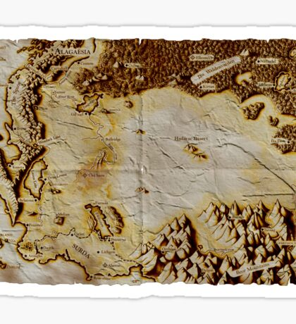 Old folded map of Alagaësia Sticker