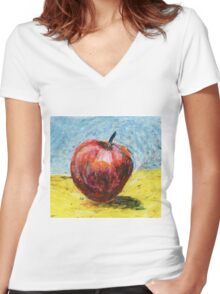 Red apple. Oil pastel painting Women's Fitted V-Neck T-Shirt