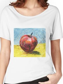 Red apple. Oil pastel painting Women's Relaxed Fit T-Shirt