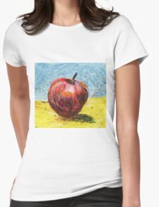 Red apple. Oil pastel painting Womens Fitted T-Shirt