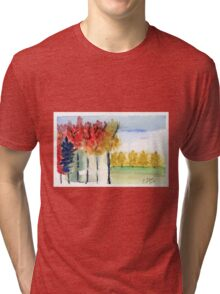 Fall Trees Abstract  Landscape Watercolor Painting Tri-blend T-Shirt