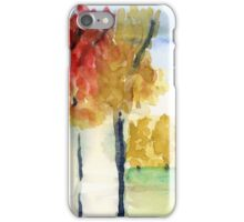 Fall Trees Abstract  Landscape Watercolor Painting iPhone Case/Skin