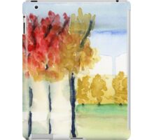 Fall Trees Abstract  Landscape Watercolor Painting iPad Case/Skin