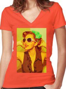 Timeless Vintage Girl Women's Fitted V-Neck T-Shirt