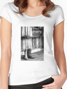 Made For Walkin' (B&W) Women's Fitted Scoop T-Shirt